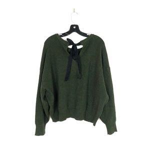 [Zara] Olive Green Chunky Knit Tie Back Sweater